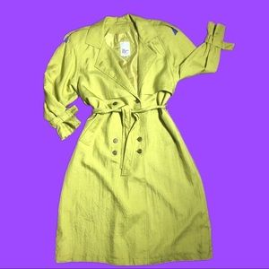 Vintage Green 80s Trench Polyester Coat size 12